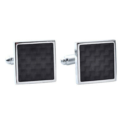Black Carbon Fiber Retro Stainless Steel Square Cufflinks Business Wedding DS