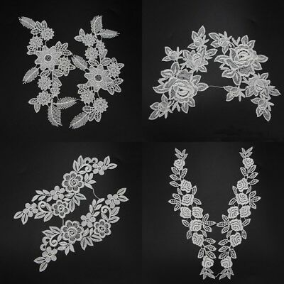 5 Models 1 Pair White Black Flower Lace Trims Applique Trimmings New Sewing