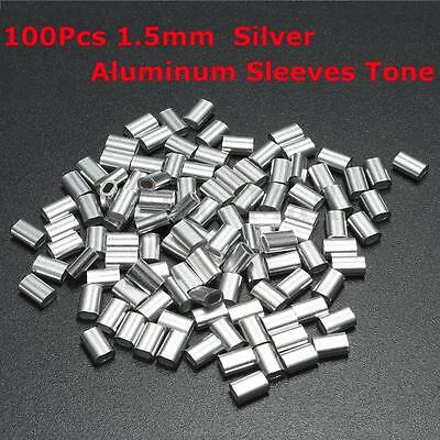 100Pcs 1.5mm 1/16'' Aluminum Ferrules Sleeves Silver Tone Steel Wire Rope Clip