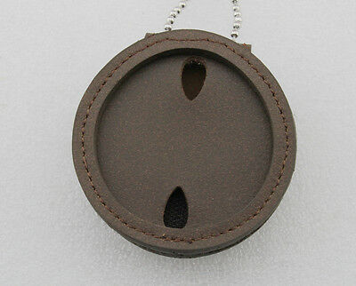leather chain Belt holder Universal Round Belt cut-out Police Badge Holder-brown