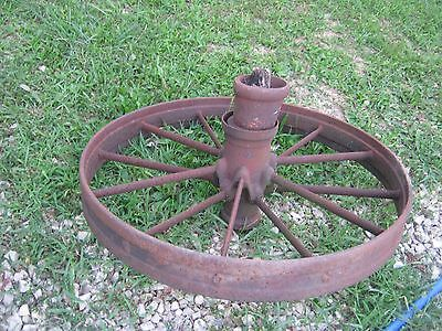 "Vintage Rustic Iron Farm Implement Wheel 32"" diameter x 4"" wide Farm decor"