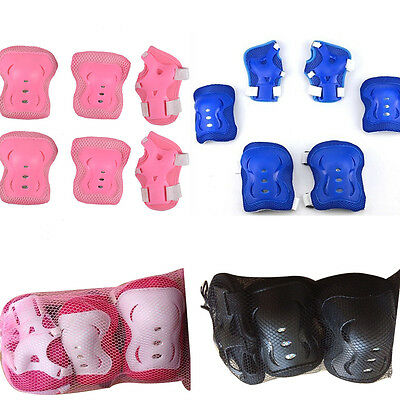 6 Pcs Kids Blading Roller Skating Wrist Elbow Knee Pads Blades Guard 4 Colors