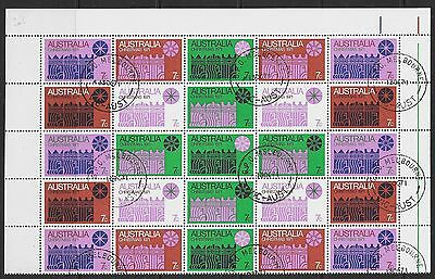 AUSTRALIA SG498ab 1971 CHRISTMAS HALF-SHEET OF 25 USED