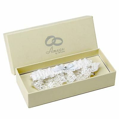 Amore White Lace And Satin Wedding Garter With Blue Bow Gift Boxed By Juliana