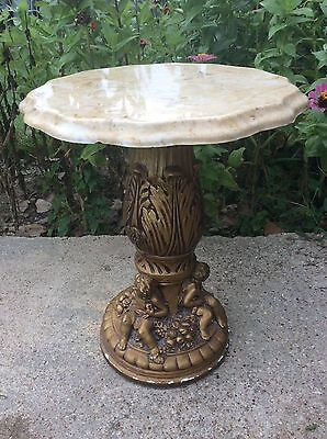 Italian Style vintage Cherub Pedestal  Marble  side end Table Plantstand stand