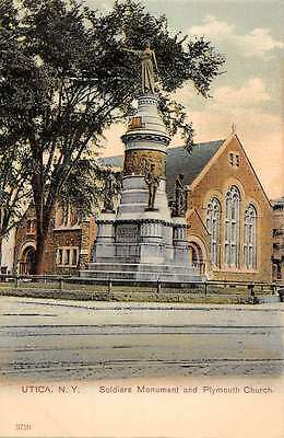 Utica New York Soldiers Monument Plymouth Church Antique Postcard K36391