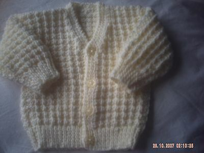 Hand Knitted Cream Baby V-Neck Cardigan Size 0-3 Months.