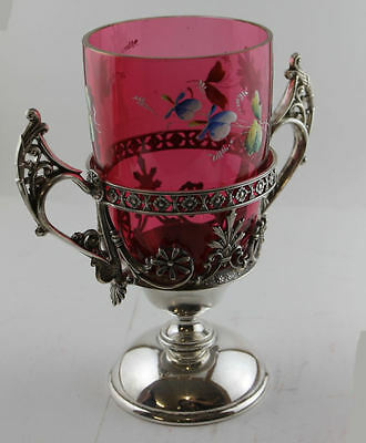 Antique Victorian Cranberry Art Glass Celery In Silver Plated Holder