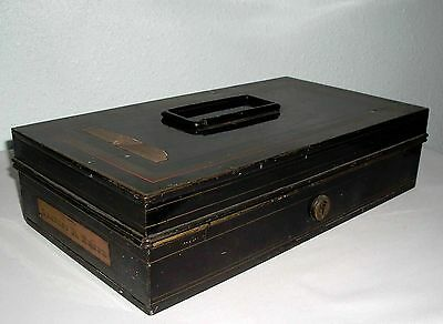 1888 Antique Gentlemen Metal Cash Document Storage Box, Owned by Charles R Elmer