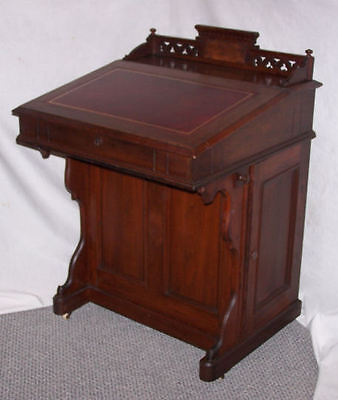 Victorian Antique Walnut Davenport Small Writing Desk