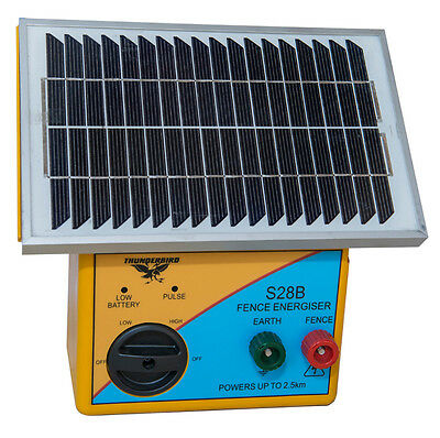Thunderbird S28B Solar Energiser - Electric Fence Charger Polywire
