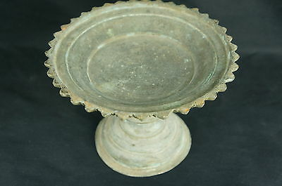 "Superb Heavy antique middle eastern bronze taza / serving dish 8"" [Y8-W6-A8-E8]"