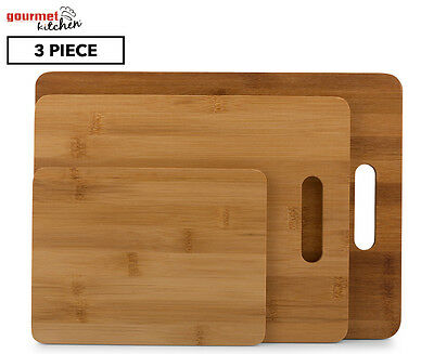 Gourmet Kitchen 3Pc Bamboo Chopping Board Set