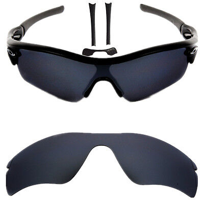 New Black Polarized Replacement lenses for-Oakley Radar Path w/Nose&Rubber
