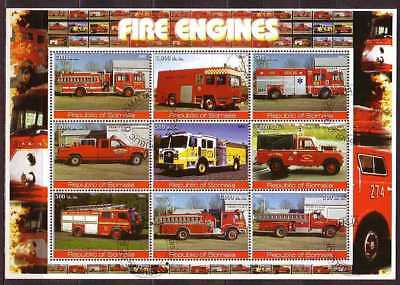 Fire engine M/S of 9 stamps FIRE10