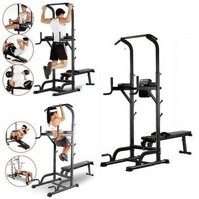 Folding Home Fitness Power Tower Dip Station Sit/Pull/Press/Chin Up Bench Bar