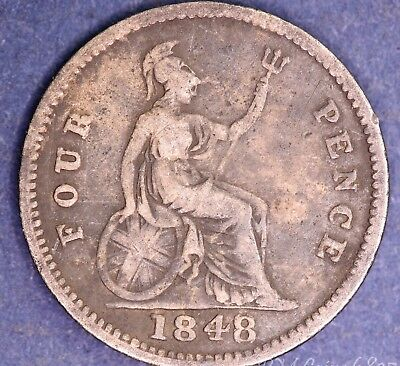 1848 Victoria Young Head Silver 925 Fourpence 4d possible 8 over 6? coin *[6835]