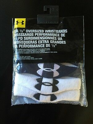 "NWT UA Under Armour 1/2"" OVERSIZED Wristbands 4 PC/ 2 PAIR WHITE / BLACK"