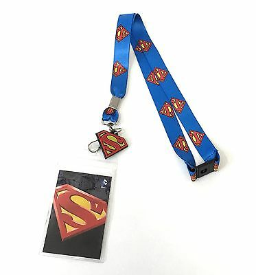 Superman Classic S-Shield Lanyard with ID Badge Holder & PVC Charm Official New