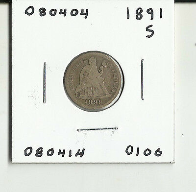 1891 S Seated Liberty Dime - # 080404