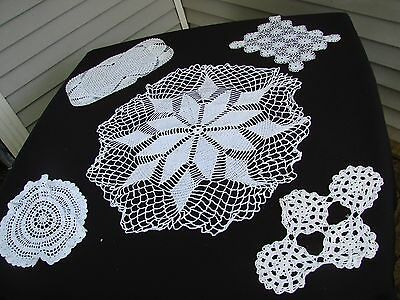 Lot Of 5 Vintage Hand Crochet White Doilies