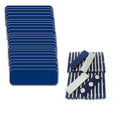"25 Blank Blue White Name Badge Kit (U) Magnets 1 X 3 Tags 1/4"" Corners Labels"