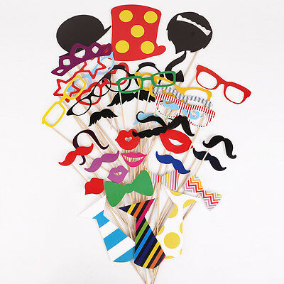 39 Pcs Photo Booth Novelty Photography Props Birthday Party Wedding Fun