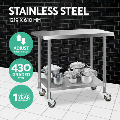 1219x610mm Commercial 430 Stainless Steel Work Bench Food Prep Table + Castors
