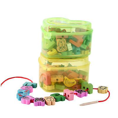 Wooden Lacing Beads Animals Blocks Heart-shape Box Threading Educational Toy DS