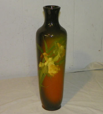 Antique Roseville Rozane Pottery Tall Vase Artist Signed - Floral Theme
