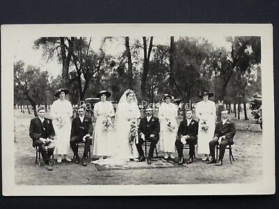 Wedding Portrait GROOM SITTING WHILST BRIDE & BRIDESMAID STAND Early RP Postcard