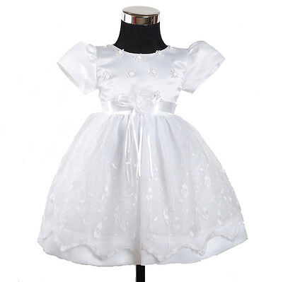 New White Christening Party Flower Girl Dress 3-6 to 12-18 Months