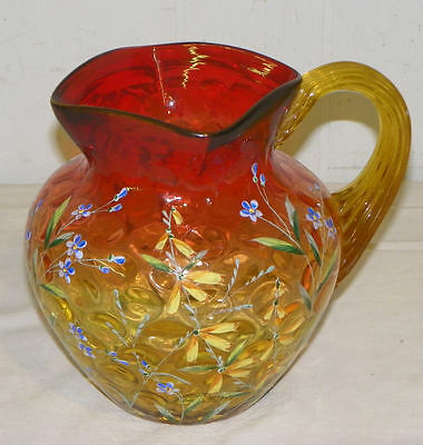 Antique Amberina Art Glass Pitcher Enameled Floral Design