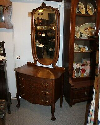 Fancy Antique Oak 3 Drawer Dresser Chest of Drawers – original finish - Mirror