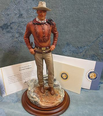 "Franklin Mint 12"" John Wayne The Duke Figurine Porcelain Sculpture On Wood Base"