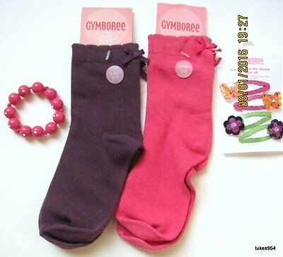 Gymboree All About Buttons Socks 5-6-7  Hair Bracelet Plum Pink, Orange 7 Pc NWT