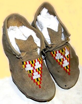 "Beautiful Vintage 11"" Beaded Lakota Sioux Indian Made Leather Moccasins"