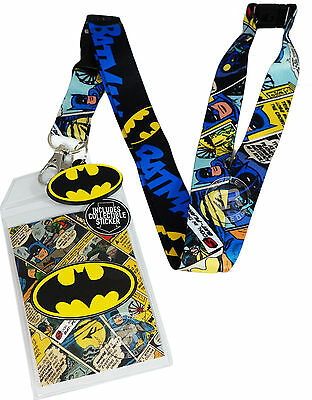DC Batman Comic Logo Lanyard w/ Sticker ID Badge Holder & PVC Bat Charm New