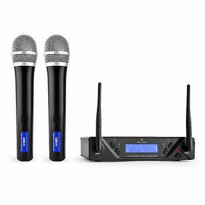 Set Microphones Micro Sans Fil UHF Main Duo Wireless Chant Discours Récepteur