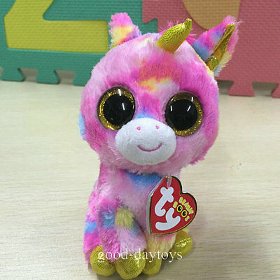 Soft Toy From TY BEANIES BOOS 2015 ~Fantasia Gold pink Unicorn 6 inch MINT