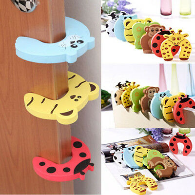 5Pcs Baby Safety Foam Door Jammer Guard Finger Protector Stoppers Animal Designs