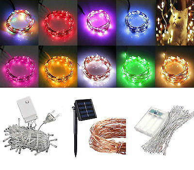 1-20M 10-200 LED Electric/Solar/Battery String Fairy Lights Xmas Wedding Party