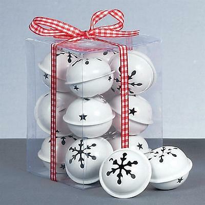 Premier Christmas Decoration 12 Pack Snowflake 40mm Jingle Bell Baubles - White