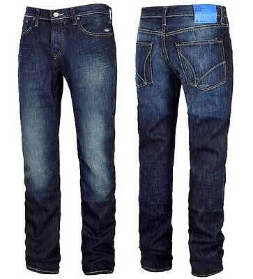 adidas Originals SLIM FIT JEANS Herren Straight Denim Pant's Hose dunkelblau Men
