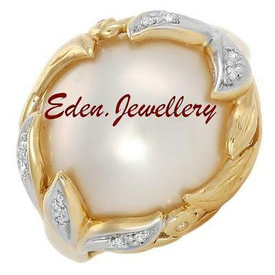 US$2450 Gemological CERTIFIED MOBE Pearl Eye Clean Diamond Gold Ring 70% OFF