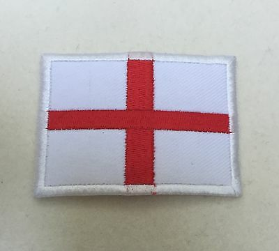 England St Georges Flag Badge, White & Red Cross Patch, Sticky Back Option
