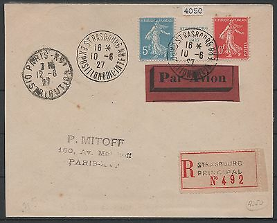 """France Stamp Timbre 242A """" Semeuse Exposition Strasbourg 1927 """"oblitere Ttb P005"""