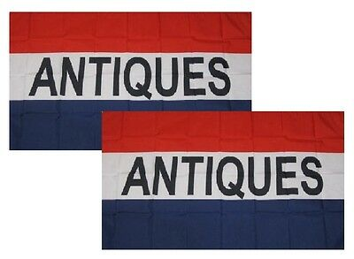 ANTIQUES Flag Antique Store Banner Advertising Business Sign New 3x5 Set of 2