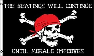 PIRATE FLAG 3x5 Beatings will Continue until Morale Improves Jolly Roger Ship