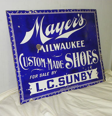 Mayer's Milwaukee Custom Made Shoes Antique Advertising Sign